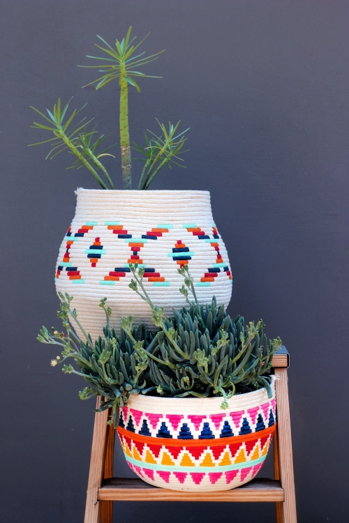 DIY Colorful Rope Baskets